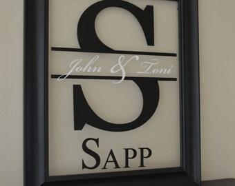 Wedding Monogram Sign Glass Monogram Sign Personalized Glass Sign Established Sign Wedding Logo Sign Wedding Initials sign