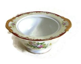 Vintage Mieto- Hand Painted China- Sugar Bowl, Pedestal-No Lid, Japan, Burgundy and Gold, 1950's-Porcelain-Dinnerware-Cottage-Kitchen