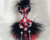 OOAK Ornament Red Black Goth Corset Mink Crystal Gift