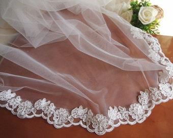 ivory alencon lace trim, bridal lace trim, cord lace, scalloped trim lace for bridal veil