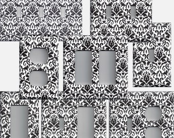 Light Switch Cover in Black & White Floral Damask Light Switch Plates and Wall Outlet Covers Elegant Home Decor Accents