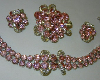 Pretty Pink and Clear Designer  EISENBERG Brooch/Bracelet/Earrings SET Parure