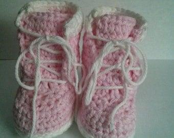 Crochet Newborn, 0-3, 3-6, 6-12 month Baby Girl Pink/White Timberland Boot Booties