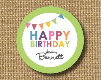 Personalized birthday sticker, custom gift tag, personalised sticker