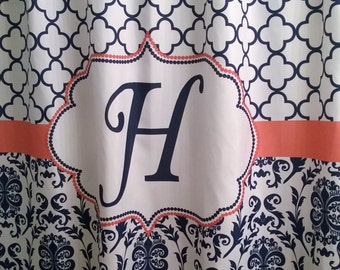 Shower Curtain Fabric Damask Lattice 70, 74, 78, 84, 88 or 96 inch long lengths Personalized Monogrammed for you, shown in Navy and Coral