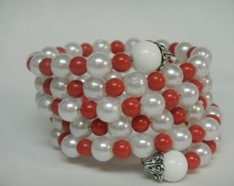 Red and White  Sorority Bracelet  Wrap Bracelet Stack Bracelet Stackable Fashion Jewelry  Assorted Colors available AKA