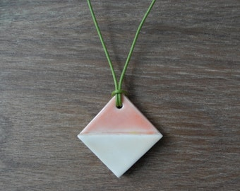Pink and White Square Porcelain Necklace