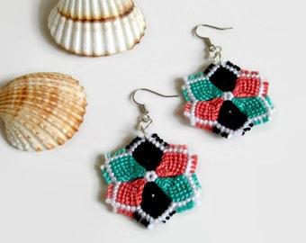 macrame flower earrings fashion jewelry dangle earrings knotted flower earrings in pink, turquoise, black