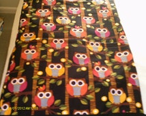 Treasury list,owl quilt, owl tablerunner, bird quilt, bird tablerunner,   wildlife quilt, red owl quilt, wheelchair quilt,