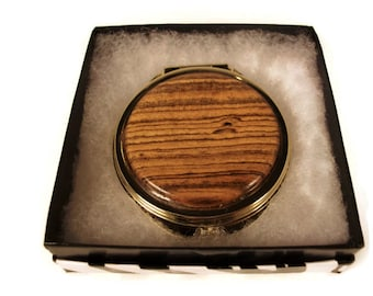 Handmade 10k gold plated compact mirror