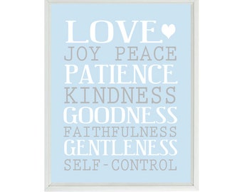 Galatians 5:22-23 Wall Art, Love Joy Peace Patience, Scripture Art, Baby Nursery Art, Religious Gift, Inspirational Print, Nursery Wall Art