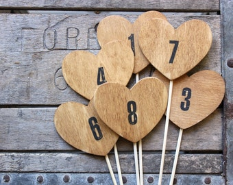 heart table numbers . rustic wood heart table numbers on a stick . heart table numbers .  woodland wedding numbers