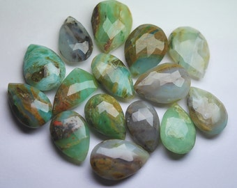 8 Pcs,Super Rare Item, Peruvian Blue Opal Faceted Pear Shape Briolettes,16-17mm Large