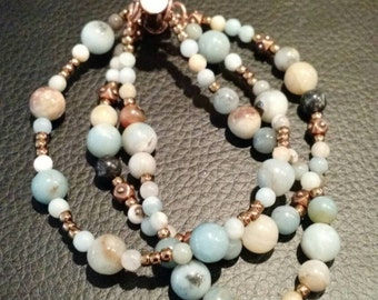 Black gold amazonite copper 3 strand bracelet