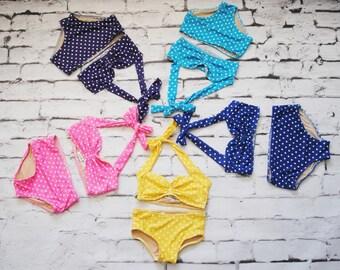 Girls retro polka dot mid rise bikini two piece sizes 2-12 choose your color