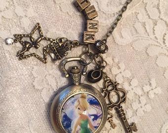 Tinkerbelle, Theme Pocket Watch Necklace. Antique Bronze Tone.