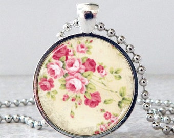 Pink Roses Necklace, Pink Roses Pendant, Shabby Chic Floral Glass Art Pendant, Rose Jewelry, Vintage Flower Necklace, Mother's Day Gift