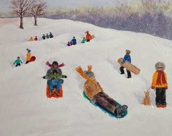 A Fun Snow Day Sledding In The Park - Acrylic Painting Of A Winter Wonderland Scene In The Park - Family Fun Day