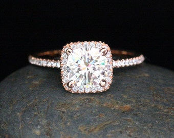Cushion Forever Classic Moissanite Diamond Halo Ring in 14k Rose Gold Ring with Moissanite Cushion 7mm and Diamonds