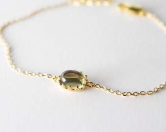 Gold framed glass dainty bracelet // Olive