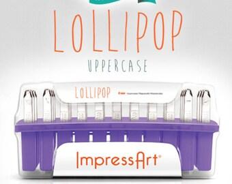 ImpressArt Lollipop Uppercase Metal Letter Stamp Set- 4MM- Steel Stamps- Lollipop Font Metal Letter Set- SGSC1222A-4MM