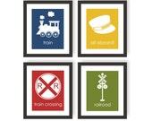 Train Nursery Art - Set of 4 - CHOOSE COLOR, Kids Train Art, Toddler Room Decor, Playroom Print, Children Wall Decor, Boys Bedroom, Railroad