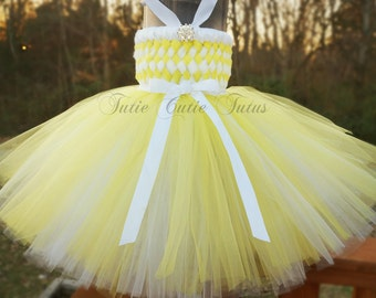 Flower Girl Woven Tutu Dress in Yellow and White