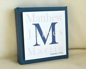 Children's Monogram & Name Art - 6 x 6 Gallery Canvas Frame