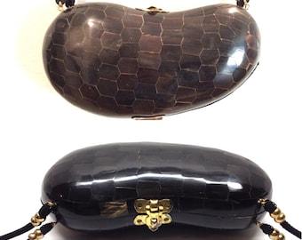 Tortoise Shell Inlay Lima Bean Crossbody Hard Box Purse