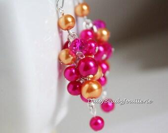 Fuchsia and Tangerine Orange Pearl Earrings, Bridesmaid Gift, Hot Pink and Orange Earrings, Wedding, Fuchsia and Orange, Bridesmaid Gift
