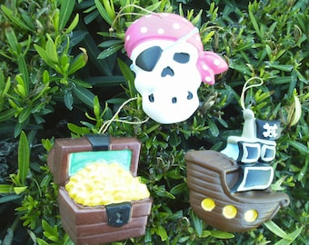 Pirate Ornaments - Set of 3 Pink