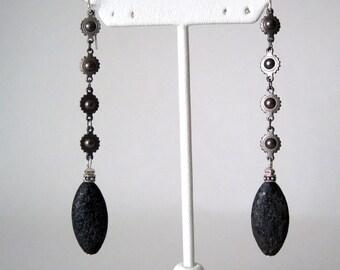 very long Black stone  earrings