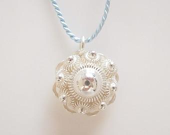Traditional Dutch Zeeuwse knop on Blue Silk Cord, fine silver jewelry, silver flower, Dutch Jewelry, Holland