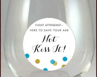 Flight Attendant Wine Charms, Flight Attendant Glass Decals, Stewardess Glass Tags, Glass Label, Flight Attendant Gifts, Glass Not included