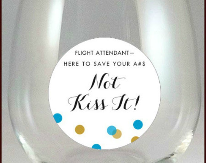 Flight Attendant Glass Decals, Stewardess Glass Tags - 8 pack, Glass Not included