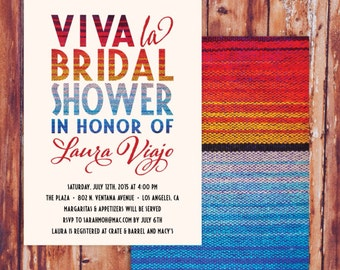 Viva La Bridal Shower - Mexican Fiesta - Printed Party Invitations - Colorful Spicy - Pink, Red, Blue, Serape Blanket Invites with Envelopes