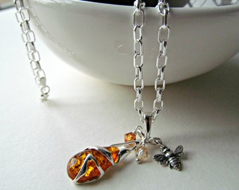 Amber Pendant Necklace - Cognac Amber Necklace - Silver Bee Neckace - Sterling Silver Chain - Bee & the Honey Pot Necklace
