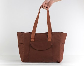 "Caramel Brown Canvas Diaper Bag ""Lyla"", Water resistant"