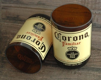 Pair of Large Quart Mexican Corona Familiar Recycled Beer Bottle Glasses -Set 0f 2