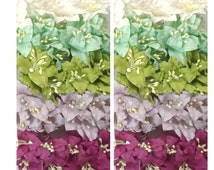 25  Lily Wedding Paper flower scrapbook card making home decor craft supply White Green Purple Mixed 600/LY1