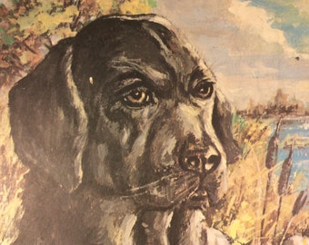 Vintage Black Lab Dog Print