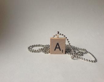 Scrabble Tile Alphabet Letter Necklace A