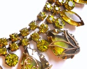 Green Rhinestone Necklace, Art Nouveau, Vintage and Stunning
