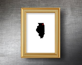 Illinois Map Art 5x7 - UNFRAMED Hand Cut Silhouette - Illinois Print - Illinois Wedding - Personalized Name or Text Optional