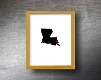 Louisiana Art 8x10 - UNFRAMED Hand Cut Silhouette - Louisiana Print - Louisiana Wedding - Personalized Name or Text Optional