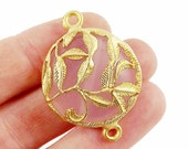 Soft Pink Rustic Leaves Jade Connector  - Gold plated Bezel - 1pc