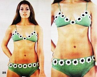 """Vintage 1970's Crochet """"Bikini"""" Bathing Suit - PDF Pattern - INSTANT DOWNLOAD - Vintage Beach Fashion - Daisy Motif Swim Suit"""
