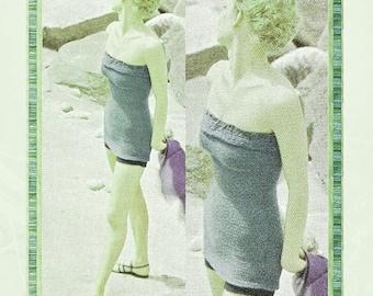 Vintage Tube Top Bathing Suit Knitting Pattern - Boy Shorts Bikini - PDF Instant Download - Swimwear Beach Cover Up - Digital Pattern - Vtg