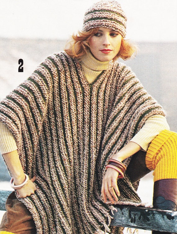 Poncho Jacket Knitting Pattern : Vintage Poncho Pattern - Knitting Pattern - PDF Instant Download - Coat Jacke...