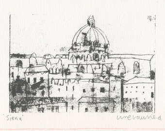 SIENA SCREEN PRINT, Original Italy Art, Duomo Tuscany Print, Screenprint Handmade Original, Signed Italy Print, Siena Home Decor, Drawing